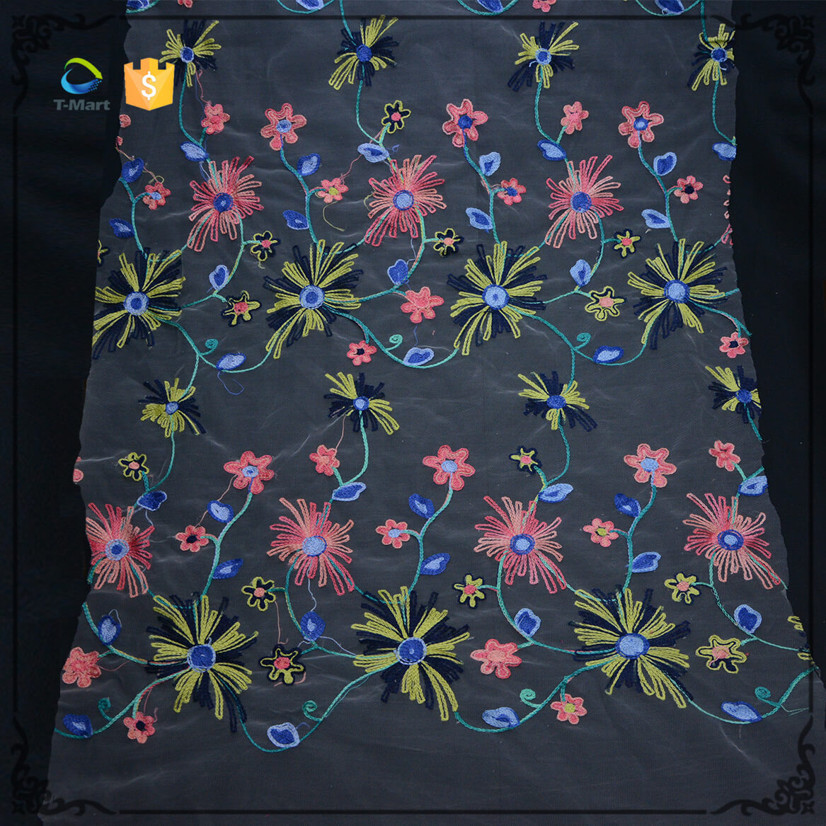 Embroidery Flower Mesh Fabric