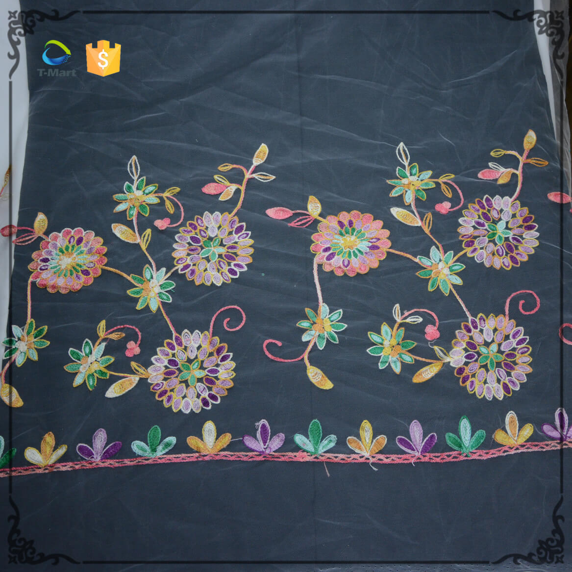 Floral Heavy Embroidered Lace Fabric