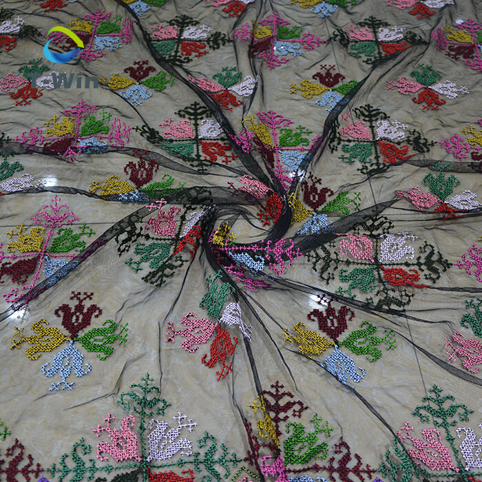 Embroidery Black Mesh Fabric for wholesale
