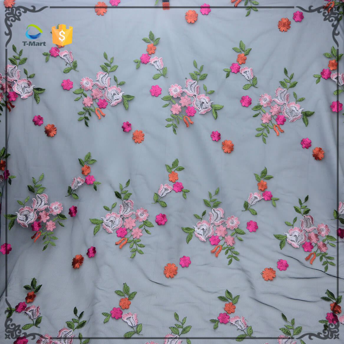 Embroidery lace mesh fabric