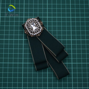 Embedded Crystal Web grosgrain bow brooch
