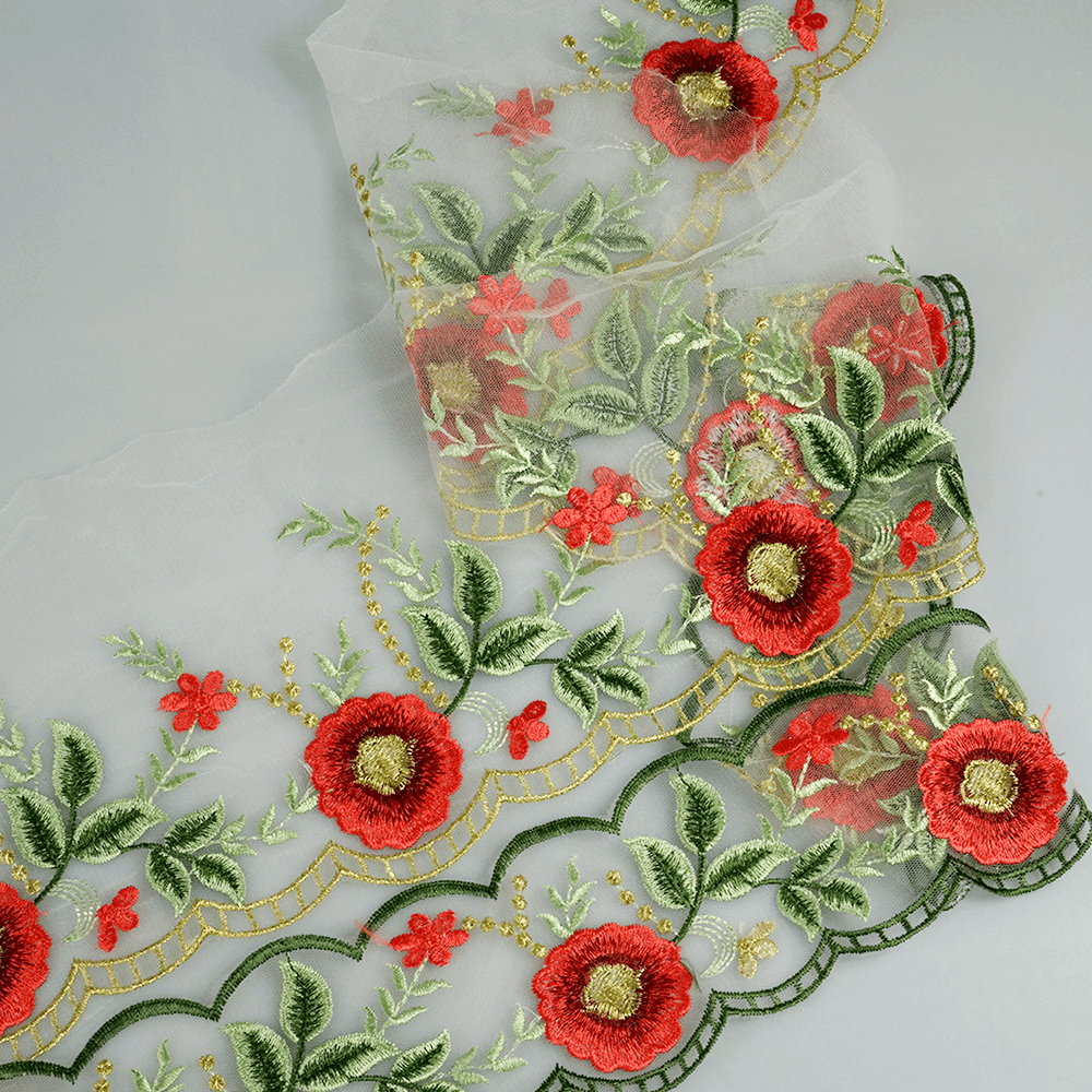 Boutique embroidered flower mesh gold tulle lace trim