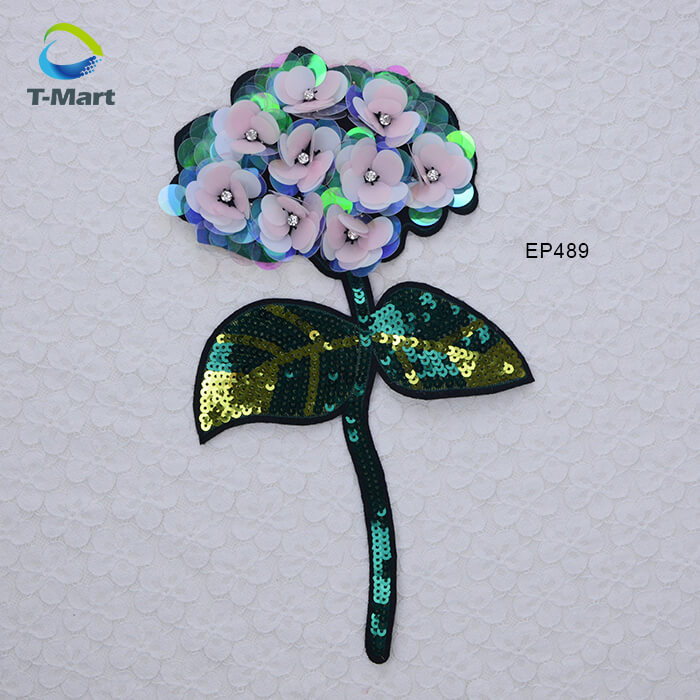 Hot sale embroidered rose patches iron on sequins flower
