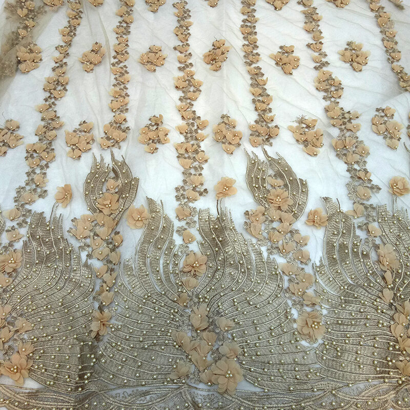 3d embroidered beaded dress lace fabric