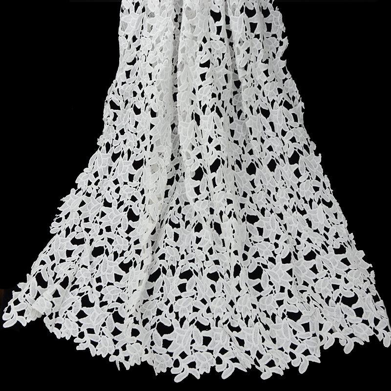 blue color guipure lace fabric