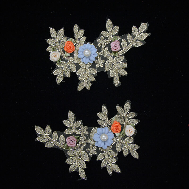 rhinestone colorful embroidery flower