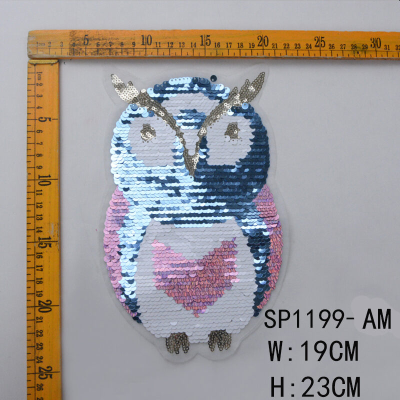 Sew-on Reversible Flipping Owl Design Sequin Patch Accessories