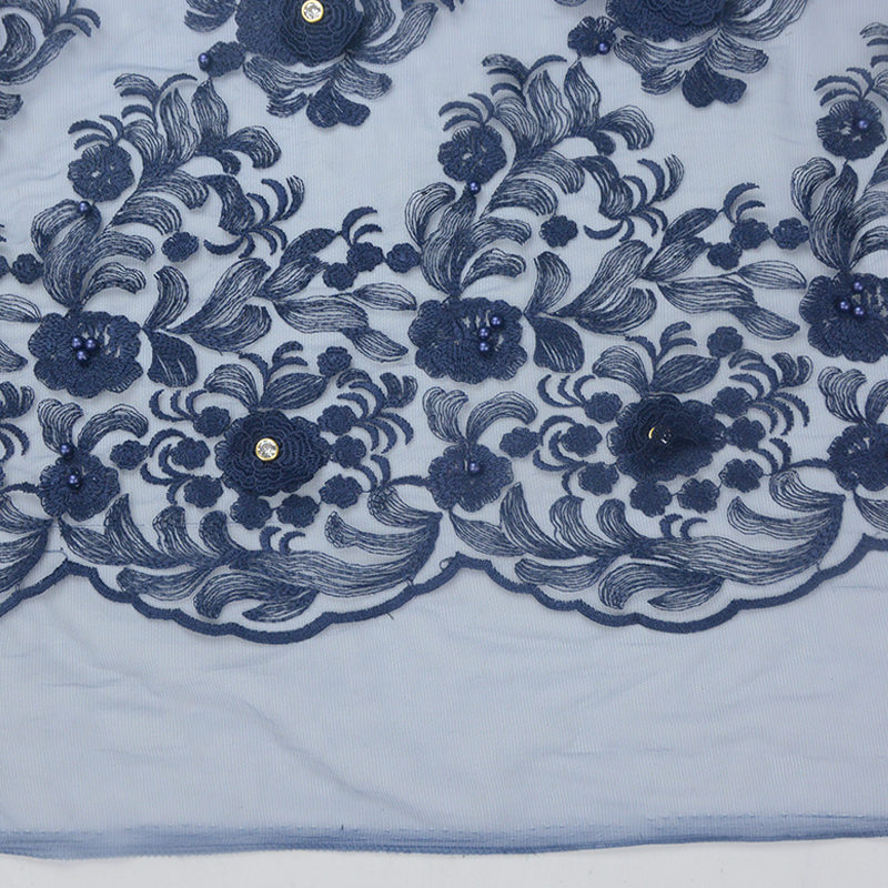 2019 Beaded 3d Navy Rhinestone Embroidery Fabric For Garment