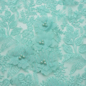 High Quality 2019 Beaded 3d Verde Menta Embroidery Fabric