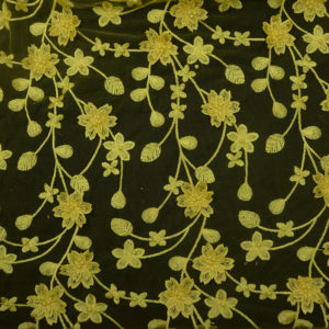 Beautiful 2019 Beaded 3d Yellow Heavy Embroidery Fabric