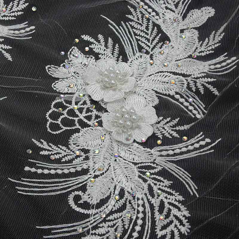2019 Quality Shiny 3D White Rhinestone Embroidery Fabric