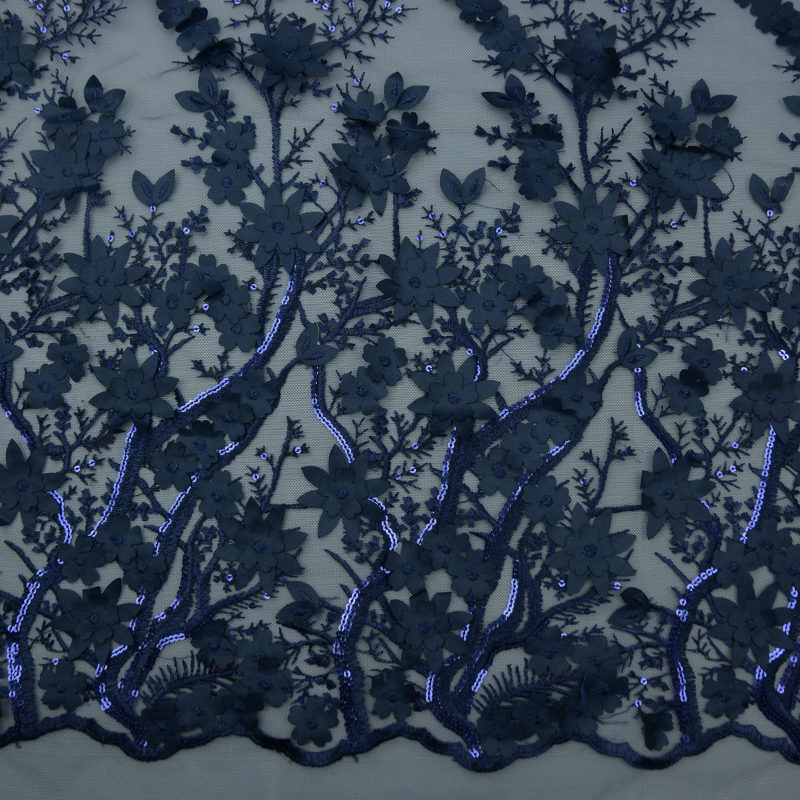 2019 Beaded 3d Navy Embroidery Fabric For Garment
