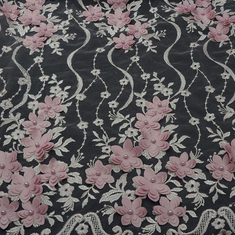Hot Selling Wavy stripes 3d dress embroidery Fabric For Garment