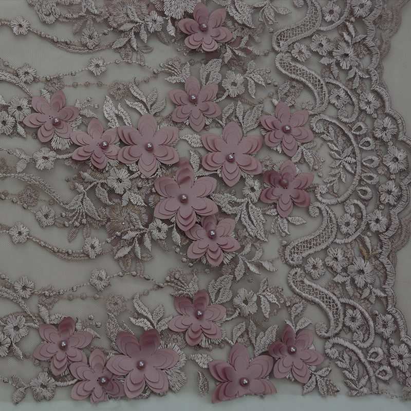 2019 Polyester Noble Beaded Pink Embroidery Mesh Fabric