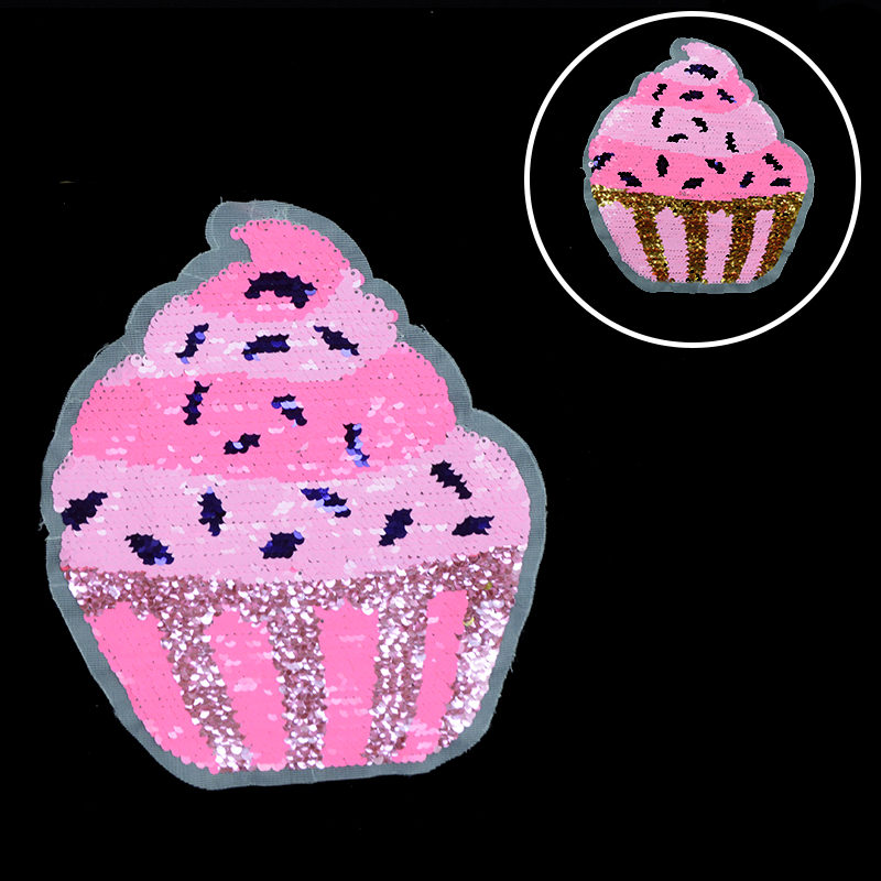 High Quality Ice-cream Sequin Patch Reversible Accessories,