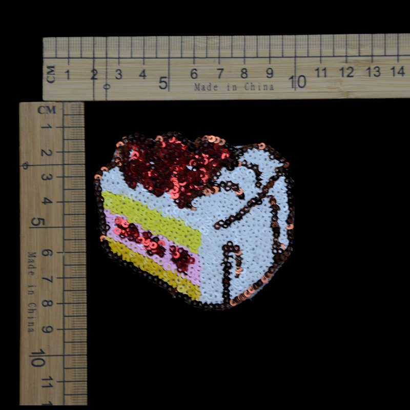 Shiny Fashion Accessories Food Embroidery Sequin Patch For Shirt