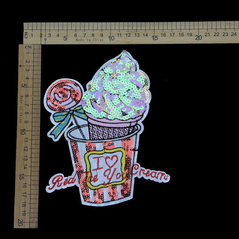 Textile Accessories Ice-cream Embroidery Sequin Patch For Garment