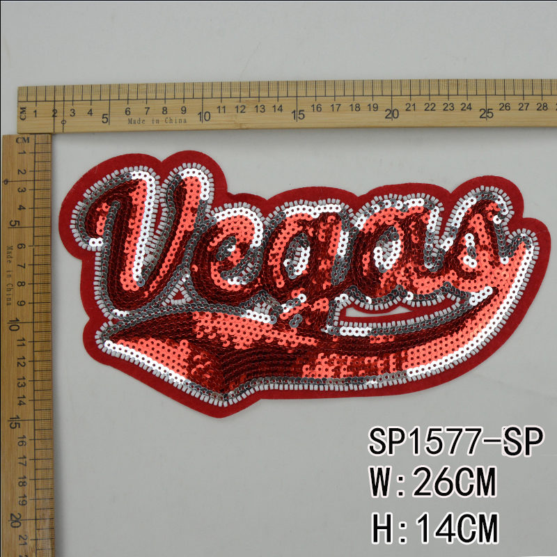 Letter Sequin Patch Accessories For Garment ,the best manufacturer in China Guanhzhou,high quality and wholesale price for customers