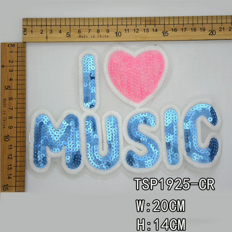 Music Letter Sequin Children Patch For T-shirt 2020 Latest