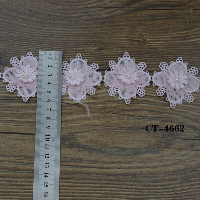 Pink Lace Trim With 3d Flowers And Beads For Lady Dresses