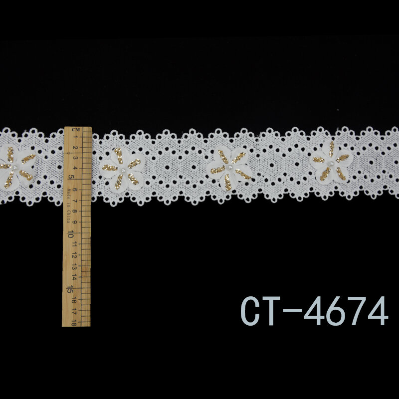 Beaded Lace Trim White Color 3D Beautiful Flower