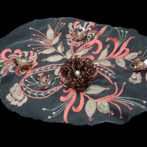 Red Lace Appliques 3D Flowers Applique Patch For Garment