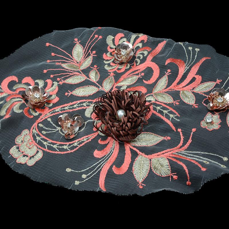 Red Lace Appliques 3D Flowers Applique Patch For Garment