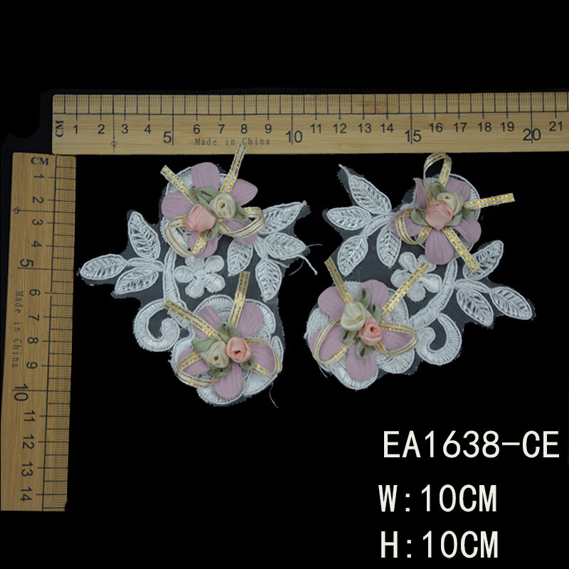 Lace Flowers Applique With Colorful Beaded 3D Cord For Garment