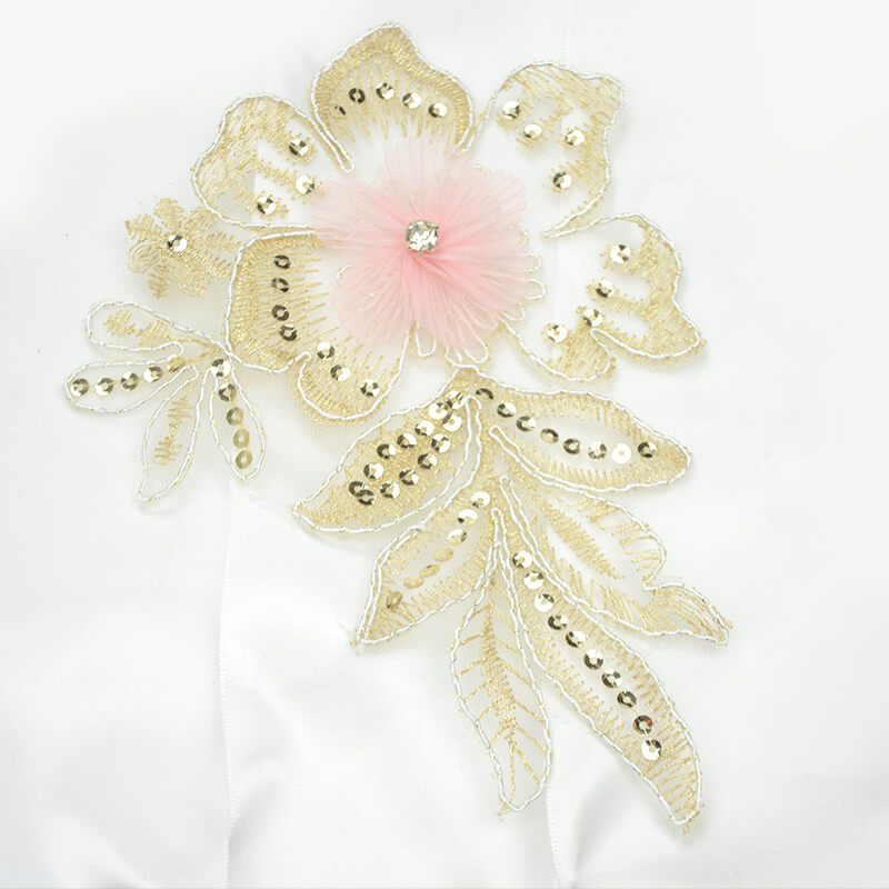 Gold Lace Applique 3D Flowers Patch For Dresses