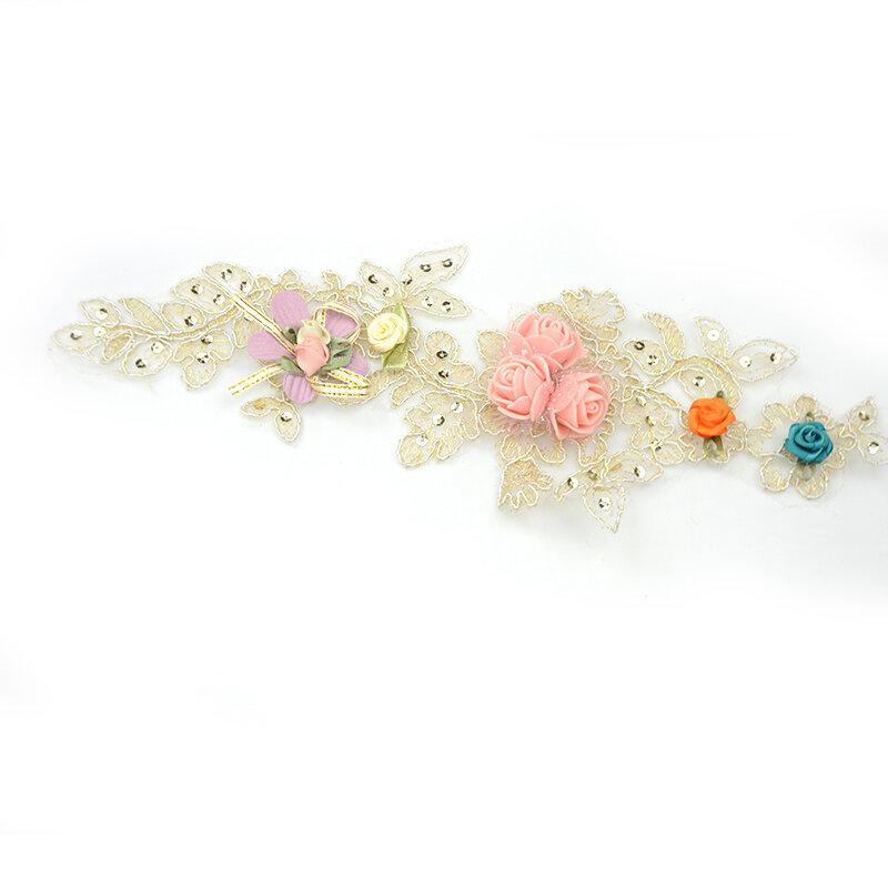 Gold Lace Applique 3D Flowers Patch For Dresses
