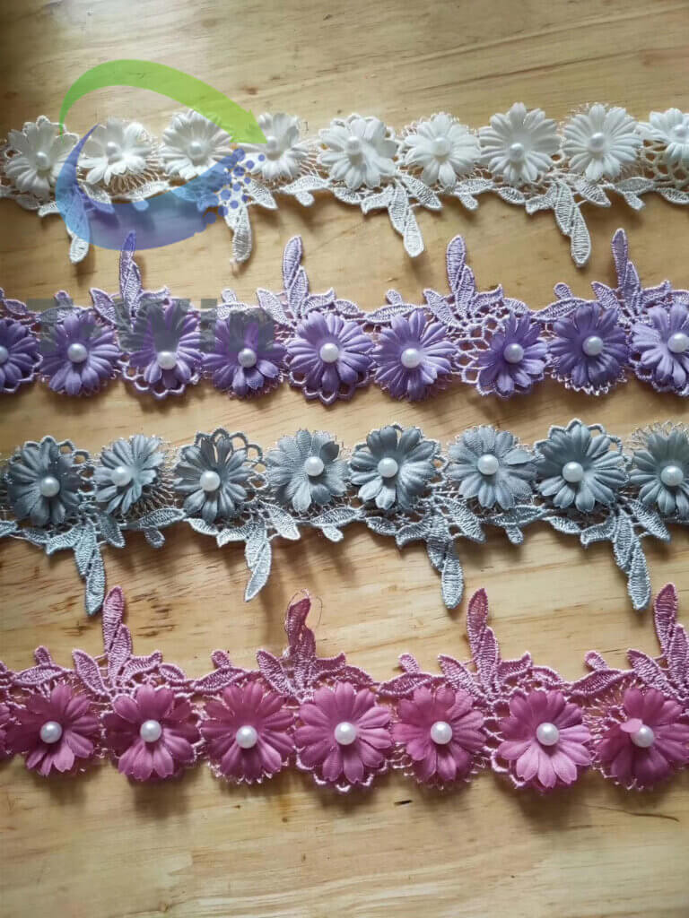 Beaded 3D chemical lace trim
